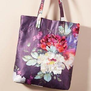 Anthropologie Embellished Floral Tote